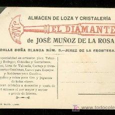 Postales: ALMACEN DE LOZAS Y CRISTALERIA EL DIAMANTE. 1919.. Lote 26955977