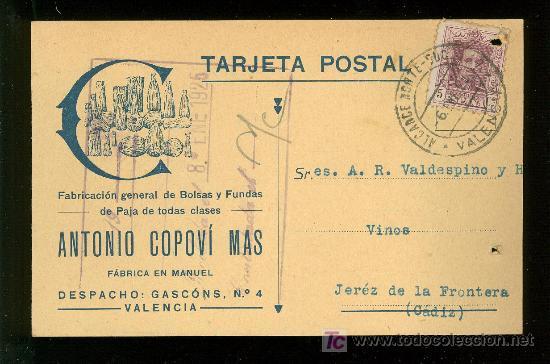 VALENCIA. ANTONIO COPOVI. FABRICACION GENERAL DE BOLSAS Y FUNDAS DE PAJA DE TODAS CLASES. (Postales - Postales Temáticas - Publicitarias)