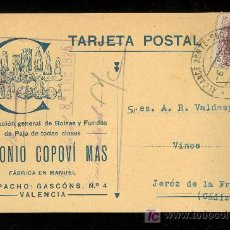 Postales: VALENCIA. ANTONIO COPOVI. FABRICACION GENERAL DE BOLSAS Y FUNDAS DE PAJA DE TODAS CLASES.. Lote 23904590