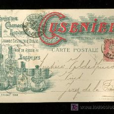 Postales: COGNAC LIQUEUR. CUSENIER. 1903. BRUXELLES.. Lote 26956009