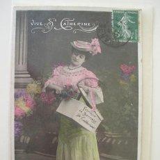 Postales: ANTIGUA POSTAL PUBLICIDAD : FABRIQUE DE BONNETS STE. CATHERINE. 1908. AN PARIS 614. Lote 19943816
