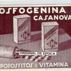 Postales: (PS-18035)POSTAL DE PUBLICITARIA DE BARCELONA-FOSFOGENINA CASANOVAS. Lote 20092947