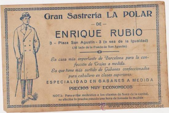 TARJETA POSTAL ROMANTICA PARTE TRASERA PROPAGANDA GRAN SASTRERIA LA POLAR DE ENRIQUE RUBIO-BARCELONA (Postales - Postales Temáticas - Publicitarias)