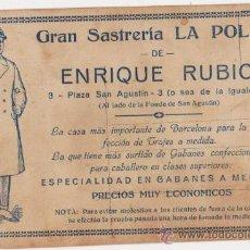 Postales: TARJETA POSTAL ROMANTICA PARTE TRASERA PROPAGANDA GRAN SASTRERIA LA POLAR DE ENRIQUE RUBIO-BARCELONA. Lote 20311449