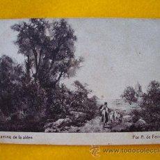 Postales: ANTIGUA POSTAL PUBLICIDAD: CHOCOLATE AMATLLER MARCA LUNA. CAMINO DE LA ALDEA. THOMAS, BARCELONA. Lote 21874726