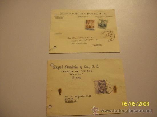 DOS TARJETAS// CIRCULADAS//MANUFACTURAS ROSAL.- 1936// ANGEL CANDELA Y CÍA, S.C..- 1945 (Postales - Postales Temáticas - Publicitarias)