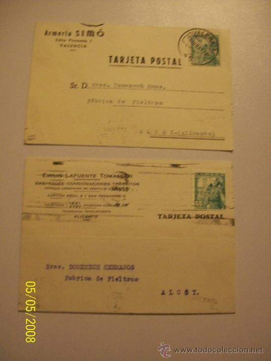 DOS TARJETAS// CIRCULADAS// ARMERÍA SIMÓ.-1949//EMILIO LAFUENTE TOMASETTI.- 1949 (Postales - Postales Temáticas - Publicitarias)