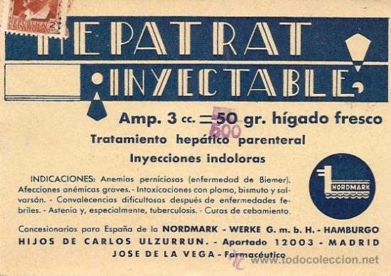 FARMACIA - TARJETA CON SELLO REPUBLICA - HEPATRAT INYECTABLE - AÑO 1929 (Postales - Postales Temáticas - Publicitarias)