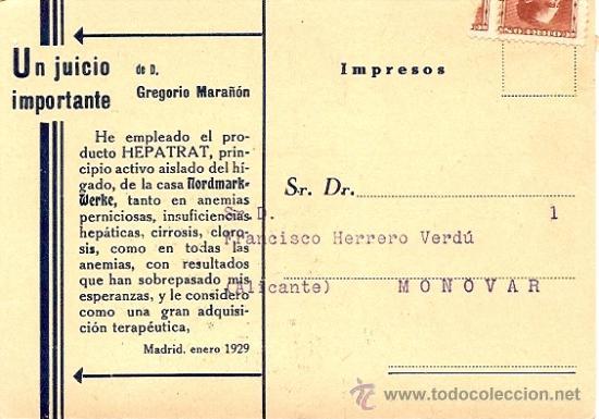 Postales: FARMACIA - TARJETA CON SELLO REPUBLICA - HEPATRAT INYECTABLE - AÑO 1929 - Foto 2 - 23570274