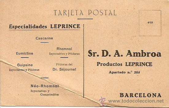 TARJETA POSTAL SIN CIRCULAR - ESPECIALIDADES LEPRINCE - BARCELONA (Postales - Postales Temáticas - Publicitarias)