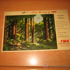 Postales: ALONG THE WAY OF TWA.............MUIR WOODS CALIFORNIA ...........TRANS WORLD AIRLINES. Lote 25608075