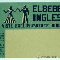 Postales: TARJETA PUBLICIDAD EL BEBÉ INGLÉS VISTE EXCLUSIVAMENTE NIÑOS AV JOSE ANTONIO MADRID AÑOS 50. Lote 25881233