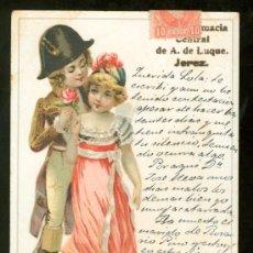 Postales: TARJETA POSTAL DE FARMACIA CENTRAL DE A. LUQUE. JEREZ.. Lote 26040842