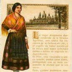 Postales: ASPIRINA BAYER.- MUJER CON TRAJE REGIONAL DE ARAGÓN Y VISTA DEL PILAR.. Lote 27399002