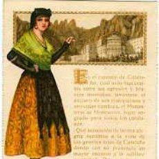 Postales: ASPIRINA BAYER.- MUJER CON TRAJE DE CATALANA Y VISTA DE MONSERRAT.. Lote 27399135