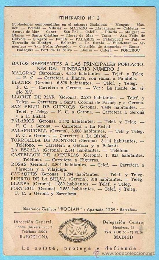 Postales: SPIDOLEINE MOTOR OIL. ITINERARIO Nº 3. BARCELONA - PORT-BOU. ITINERARIOS ROGLAN, SIN FECHA. - Foto 2 - 28268743