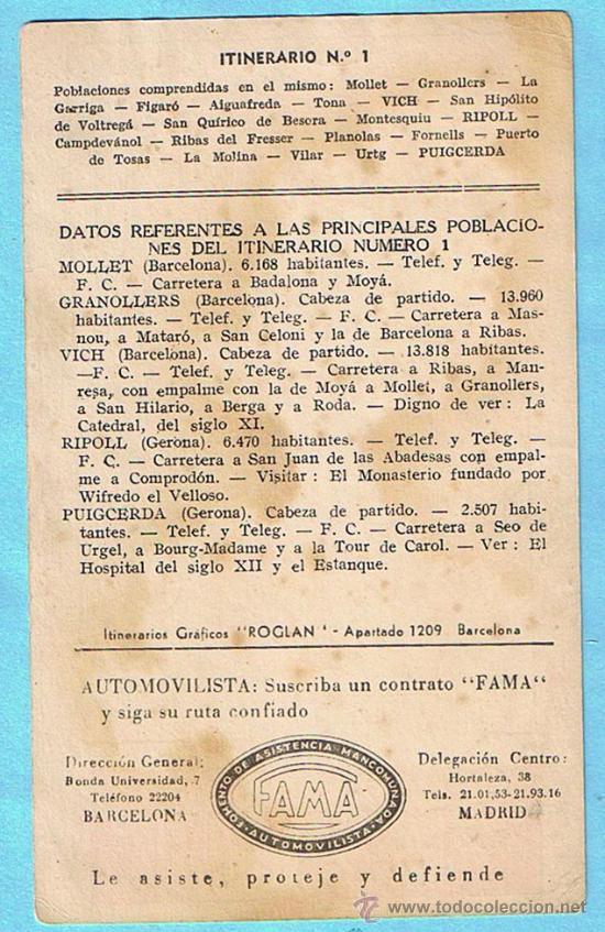 Postales: SPIDOLEINE MOTOR OIL. ITINERARIO Nº 1. BARCELONA - VICH - RIPOLL - PUIGCERDÁ. ITINERARIOS ROGLAN. - Foto 2 - 28269779