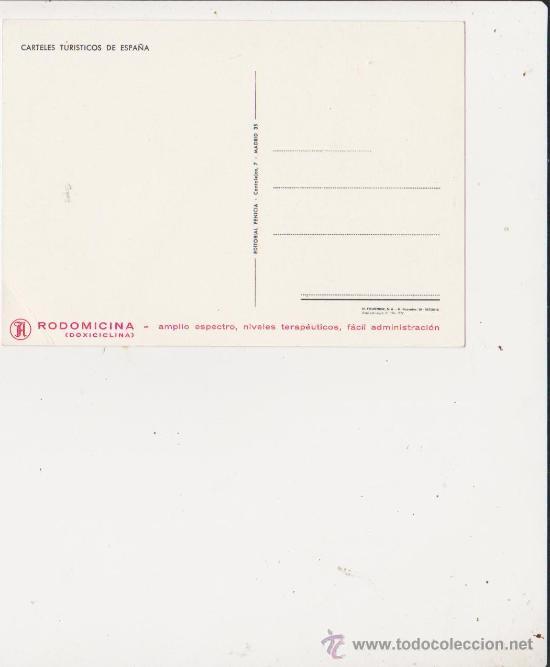 Postales: Postal carteles turisticos de España,parte trasera propaganda Rodomicina.H.Fournier-Vitoria 1972 - Foto 2 - 28485599