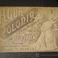 Postales: CA.1880 FOTOGRAFIA PUBLICITARIA AGUA COLONIA DR. TORRENS VALENCIA PERFUME. Lote 28563172