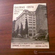 Postales: POSTAL PUBLICITARIA GALERIAS COSTA-REPRODUCCIONES GRABADOS MARCOS-BARCELONA JUNIO 1958. Lote 28905778