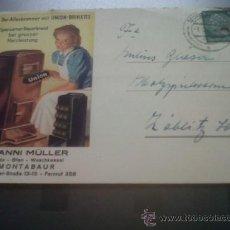 Postales: ANTIGUA TARJETA POSTAL PUBLICITARIA ESTUFA ALEMANA HANNI MÜLLER MONTABAUR ALEMANIA. Lote 29259157