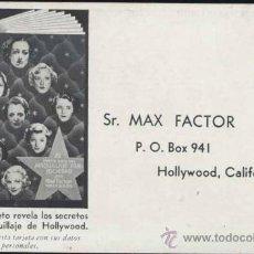 Postales: PUBLICIDAD DE MAX FACTOR- HOLLYWOOD-AÑOS 30. Lote 29301876
