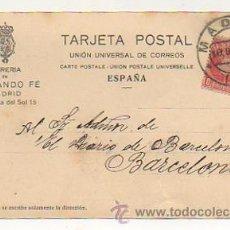 Postales: TARJETA POSTAL. PARA PEDIDO DE LIBRERÍA. LIBRERIA DE FERNANDO FE, MADRID. 1908. . Lote 29315658