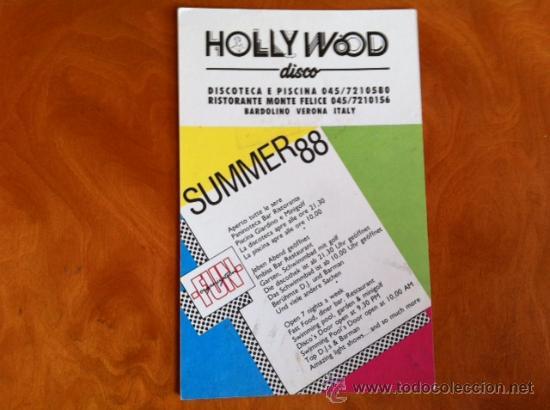 HOLLYWOOD DISCO . VERONA . ITALIA . SUMMER 88 (Postales - Postales Temáticas - Publicitarias)