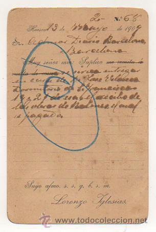 Postales: LORENZO IGLESIAS, LIBRERO. HUESCA. (REVERSO IMPRESO). CIRCULADA EN 1909. PARA PEDIDO LIBRERIA. - Foto 2 - 29837857