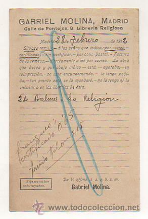 Postales: LIBRERIA RELIGIOSA DE GABRIEL MOLINA, MADRID. (REVERSO IMPRESO). CIRCULADA EN 1912. - Foto 2 - 29847052