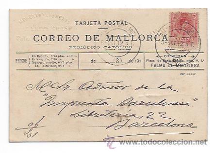 CORREO DE MALLORCA, PERIODICO CATOLICO. IMP. LIB. FEKIPE GUASP. CIRCULADA EN 1912. (Postales - Postales Temáticas - Publicitarias)