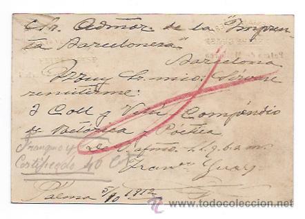 Postales: CORREO DE MALLORCA, PERIODICO CATOLICO. IMP. LIB. FEKIPE GUASP. CIRCULADA EN 1912. - Foto 2 - 30080559