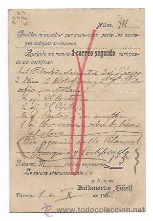 Postales: LIBRERÍA GÜELL. BALDOMERO GÜELL. TÁRREGA. CIRCULADA EN 1912. ENVIADA AL DIARIO DE BARCELONA. - Foto 2 - 30080519