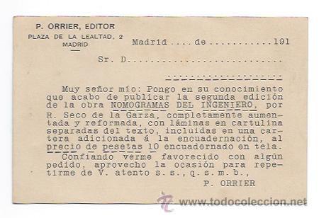 Postales: P. ORRIER, EDITOR. MADRID. (ENVIADA A LA LIBRERIA BARCELONESA. OFERTA DE LIBROS.) - Foto 2 - 30080300