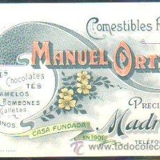 Postales: TARJETA POSTAL PUBLICITARIA DE COMESTIBLES FINOS MANUEL ORTIZ. MADRID, CASA FUNDADA EN 1901. Lote 30980933