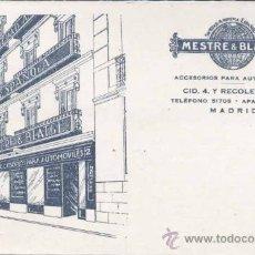 Postales: MADRID.- PUBLICIDAD MESTRE & BLATGE- ACCESORIOS PARA AUTOMOVILES. Lote 31535999