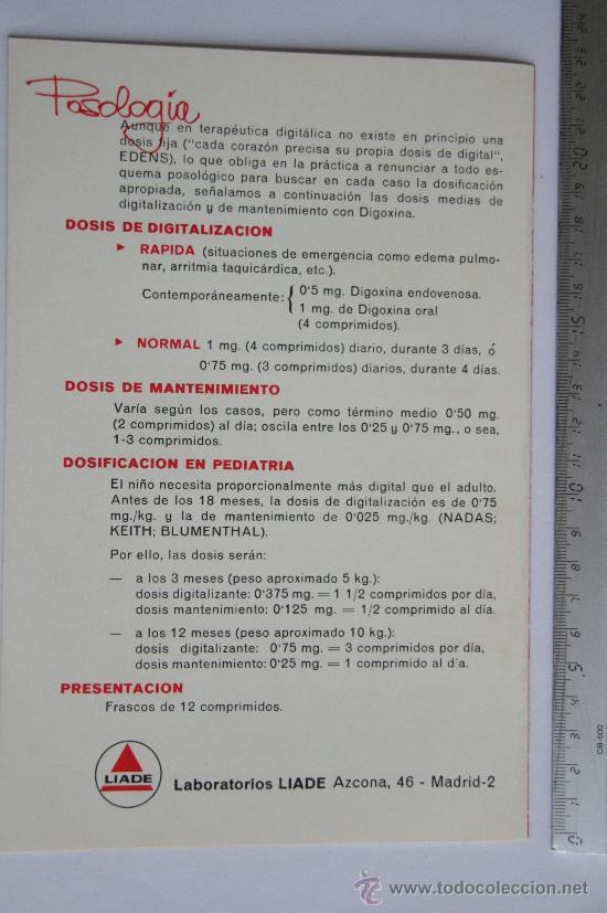 Postales: folleto PUBLICIDAD MEDICINA PROSPECTO DIFILINA DIGOXINA LABORATORIOS LIADA FARMACIA MEDICAMENTO - Foto 3 - 31777650