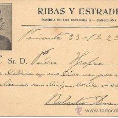 Postales: PS1522 POSTAL PUBLICITARIA DE ALMACÉN DE MÚSICA RIBAS Y ESTRADÉ - BARCELONA. Lote 31843794