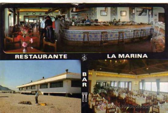 RESTAURANTE LA MARINA LA LÍNEA DE LA CONCEPCIÓN ESCRITA CIRCULADA SELLO (Postales - Postales Temáticas - Publicitarias)