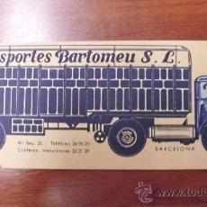 Postales: POSTAL O TARJETA PUBLICITARIA DE TRANSPORTES BARTOMEU, S.L. BARCELONA, CA. 1950. Lote 32214680