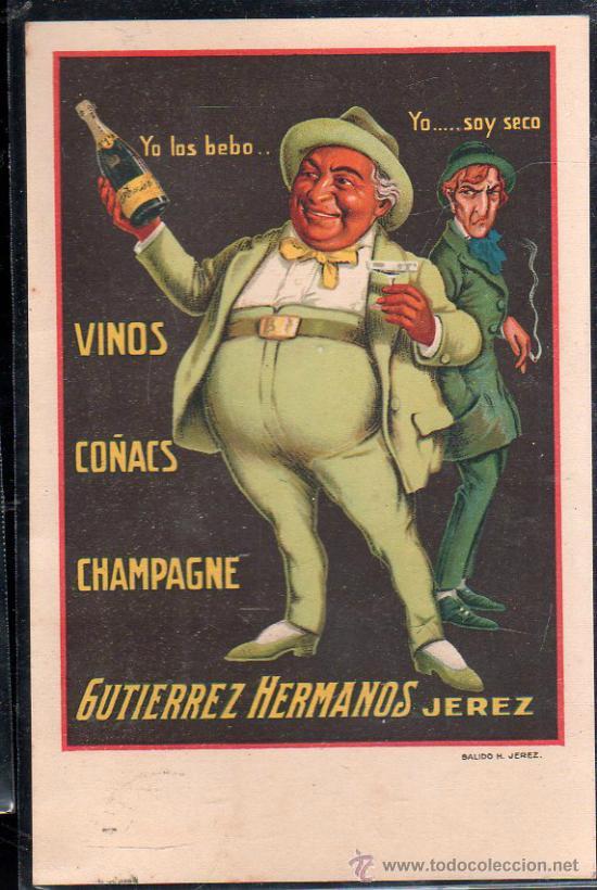 TARJETA POSTAL DE PUBLICITARIA. GUTIERREZ HERMANOS. SALIDO H. JEREZ (Postales - Postales Temáticas - Publicitarias)