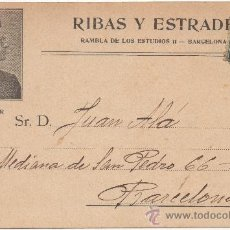Postales: RIBAS Y ESTRADÉ, ALMACÉN DE MÚSICA, RAMBLA DE LOS ESTUDIOS 11, BARCELONA. MR. KARL PANZNER. (C.1900). Lote 32843326