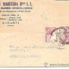Postales: SOLER Y MARUENDA Hº S.L. - COLONIALES, SALAZONES, CONSERVAS Y CEREALES - ALICANTE - CIRCULADA 1947. Lote 35055717