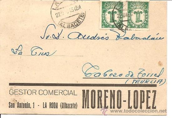 MORENO-PÉREZ - GESTOR COMERCIAL - LA RODA (ALBACETE) - CIRCULADA 1945 (Postales - Postales Temáticas - Publicitarias)