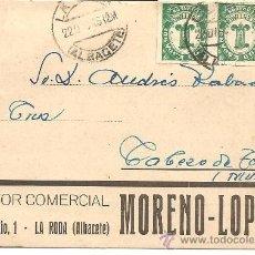 Postales: MORENO-PÉREZ - GESTOR COMERCIAL - LA RODA (ALBACETE) - CIRCULADA 1945. Lote 35055776