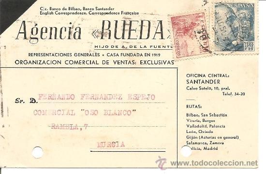 AGENCIA RUEDA - SANTANDER - CIRCULADA AÑO 1951 (Postales - Postales Temáticas - Publicitarias)