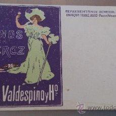 Postales: ANTIGUA TARJETA POSTAL PUBLICIDAD VINOS DE JEREZ A.R. VALDESPINO Y Hº TERRE ASTO BARCELONA. Lote 35634891