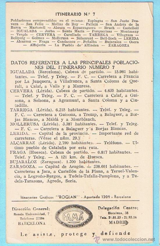Postales: SPIDOLEINE MOTOR OIL. ITINERARIO Nº 7. BARCELONA - ZARAGOZA - MADRID. ITINERARIOS ROGLAN. S/F - Foto 2 - 35998218
