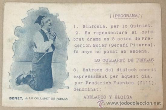BENET, DE LO COLLARET DE PERLAS. PROGRAMA TEATRE CATALÀ. TEATRE ROMEA. (IMP. F. BADIA). 1904. (Postales - Postales Temáticas - Publicitarias)