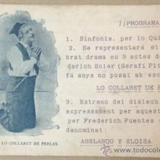 Postales: BENET, DE LO COLLARET DE PERLAS. PROGRAMA TEATRE CATALÀ. TEATRE ROMEA. (IMP. F. BADIA). 1904.. Lote 36273144